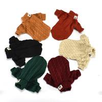 köpek kış kıyafeti toptan satış-6 Renkler Köpek Balıkçı Yaka Kazak Dış Giyim Pet Köpek Giyim Kış Sıcak Puggy Giyim Köpek Kazak Örme Giyim Pet Kıyafet AAA821