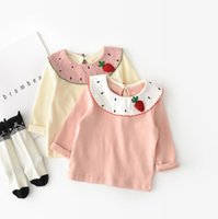 Wholesale kids embroidered t shirts resale online - cotton t shirt INS NEW ARRIVAL autumn Girls Kids t shirt long sleeve pure color cute Embroidered strawberry doll collar cotton t shirt