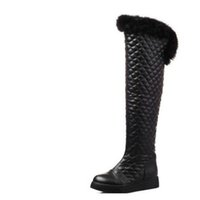 botas planas de piel de invierno al por mayor-Más terciopelo sobre la rodilla engrosamiento botas de nieve de diseño largo botas planas botas de invierno mujer de patas de conejo de pierna mediana invierno