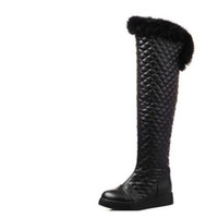 Discount female boots leather over knee - Plus velvet over-the-knee thickening long design snow boots flat boots winter boots female medium-leg rabbit fur winter