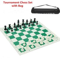 Wholesale portable chess - New Arrival Outdoor Traveling Portable Traditional Chessboard Tournament Club Chess Set with Green Roll-up Board + Plastic Bag