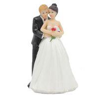 ingrosso souvenir sposo sposo-Torta Topper Coppia Sposo Sposa Figurine Resina Bomboniera regalo torta stand Decorazione di cerimonia nuziale festa di compleanno per feste souvenir
