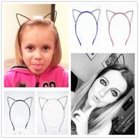 pedrería corona de hierro al por mayor-1 unids Nuevos niños festival de pelo orejas de gato diadema de hairband Crystal Rhinestone Tiara niñas corona marco tocado cabeza de hierro aro