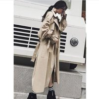 Wholesale trench coat femme - US UK Brand new Fashion 2018 Spring Autumn Women Casual Simple Classic Trench coat with belt Female windbreaker manteau femme hiver