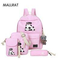 Wholesale cartoon girl panda backpack - MALLRAT Panda Backpacks for Girls Backpack Set Bags for Kids Child Phone Bag Pink Cartoon School Bags Pencil Holder