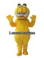 ingrosso personaggi del fumetto gatto giallo-Il costume del personaggio dei cartoni animati della mascotte di dimensione dell'adulto del gatto giallo costumes la mascotte del gatto della festa di compleanno dei bambini dei bambini Trasporto libero