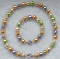 Wholesale mixed sea shells - Charming 10mm Multicolored Sea Pearl shell Necklace & Bracelet