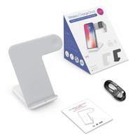 iphone stand şarj cihazı toptan satış-2 1 Kablosuz Hızlı Şarj Dock İstasyonu Standı Izle Apple iPhone için Şarj Dock İstasyonu 2/3 için Telefon Samsung S8 Note8 S9 Artı iPhoneX