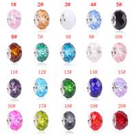 encantos deslizantes de colar de plástico venda por atacado-Colorido Grande Cristal Facets Beads Fit Pandora Pulseira Encantos Europeus Moda Feminina DIYJewelry Acessórios Frete Grátis