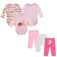 bebek giyim paketleri toptan satış-6-Pack Marka Bebek Kız Giysileri Yenidoğan Bebek Bodysuits + Pantolon Giyim Seti Noktalar Karikatür% 100% Pamuk Çocuk Giysileri Tulum + Pantolon