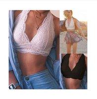 ingrosso camicie di pizzo-Summer Women Crochet Tank Top senza maniche in pizzo Vest Bralette Bra Cami crop Top Sexy Backless Halter Crop Top Cheap Abbigliamento