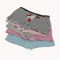 Wholesale cotton stripe panties - 2017 New Hello Kitty Stripe Underwear Women Polyester Cotton Sexy Boyshort For Woman Calcinhas Panties