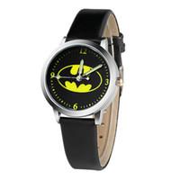 Wholesale batman online - Fashion boys girls kids children batman leather watch students sport simple design party gift quartz wrist watches