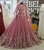 ingrosso maglietta sexy dentellare-Blush Pink Appliques Collo alto Quinceanera Ball Gowns con maniche lunghe Corpetto Lace Up Back Formal Abiti da sera Custom Made Prom Dresses