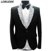 şarkıcı aşaması için elbiseler toptan satış-Sparkly Rhinestones Siyah Ceket Blazers Pantolon erkek Takım Elbise Erkek Şarkıcı Sahne Performansı Kostüm Partisi Ev Sahibi Damat Düğün Elbise