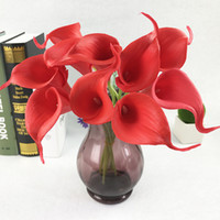 Wholesale lighted calla lily - Simulation Calla Lily Artificial Flower PU Real Home Decoration Flowers Wedding Party Mother's Day Bouquet Flowers