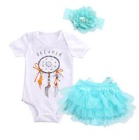 Wholesale Feathered Kids Clothes - Baby INS feather Rompers New kids Short sleeve romper +headbands+lace Short skirt 3pcs sets Toddler clothes B11