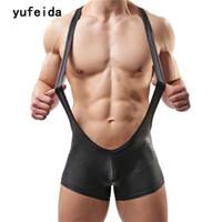 kunstleder overalls großhandel-YUFEIDA Sexy Herren Unterwäsche Bodys Overalls Overalls Bodybuilding Wrestling Singulett Overall Kunstleder Trikot Kostüm