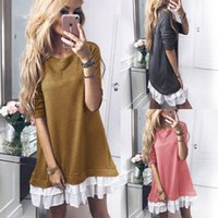 Wholesale basic dresses - Women Ruffle Patchwork Long Sleeve Dress Round Neck Splice Loose Woman Basic Mini Dress Women Tops Pullover Blouse 3 Colors OOA4562
