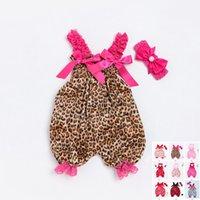 ingrosso tuta da neonato-Neonati Bambini Neonate Tuta Pagliaccetto Leopard Playsuit Fascia Abiti Abiti Body neonato con fascia 0-24 M Molti stili