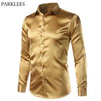 xs gold club kleid großhandel-New Gold Silk Satin Shirt Männer Slim Fit Langarm Kleid Shirts Herren Emulation Seidenhemd Männlichen Nachtclub Party Prom Camisas 3XL