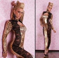 Wholesale leopard costume adult - 2018 Night Club Stage Costume Lady GAGA Sexy Lace Cat Leopard Print Jumpsuits DS Jazz Dancing Uniform Adult Sex Dress Adult Games Costumes
