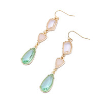 Wholesale Used Chandelier Crystals - Pure and fresh alloy gem crystal water drop lady earrings simple and easy to use European and American fashion cross-border jewelry.