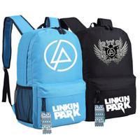 ingrosso zaini stile rock-Alta qualità 2017 nuovo stile Rock Linkin Park tela stampa donne unisex stampa borse zaino scuola per adolescenti