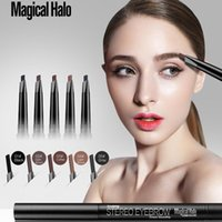 Wholesale magical eyebrow resale online - Magical Halo Brand New Women high quality Cosmetics Makeup Double Automatic Rotation Eyebrow Eyeliner Pencil Tool Anne