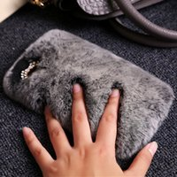 Wholesale Mobile Plush - 2018 autumn and winter women's jewelry Rex Rabbit handphone shell mobile phone plush luxury fur protective sleeve tide real leather sleeve