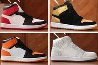 Wholesale mens mandarin - 2018 Mens Air 1 Top Mens Basketball Shoes 1s OG Sneakers AAA Quality Mandarin duck Trainers Mens Sport Shoes Size 7-13