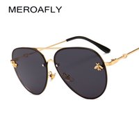 accesorios vintage para hombre al por mayor-MEROAFLY Bee Pilot Sunglasses Gafas Vintage Sombras para Mujeres Hombres Marco de Metal Moda Nuevas Gafas de Sol de Diseñador Mujeres Accesorios