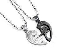 Wholesale charming heart key chain - Titanium Steel Diamond Key Puzzle Couple Lovers Heart Necklace Pendant Statement Choker Necklace Hot Sale High Quality Korean Jewelry Gift