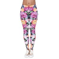Wholesale leggings girls rose for sale - Group buy Women Leggings Rose Orange Pink D Graphic Print Lady Skinny Stretchy Yoga Floral Pants Girls Workout Flower Capris Trousers New J40572