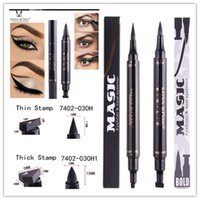 Wholesale Hot Stamping Tools - HOT Miss Rose Stamp Eyeliner & Seal Pencil Double-end Professional Eye Makeup Tool Waterproof Black thick thin S L Two Heads Pen cosmetic