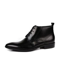 ingrosso stivali uomo vestito di pizzo-Marrone / Nero EU38-44 New Spring / Autumn Stivali da uomo in vera pelle impermeabile resistente Lace-Up Brogue Dress Boots
