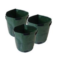 piso de plastico al aire libre al por mayor-34 * 35 CM Planta Transpirable Patata Crecer Bolsa de PE Vegetales Plantador Bolsa - Verde Oscuro