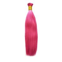 26 pulgadas de pelo trenzado al por mayor-Pink Human Braiding Hair Bulk 100g Brasileño Straight Hair Bulk 1 PC Sin trama Paquetes de cabello Envío gratis 10 a 26 pulgadas
