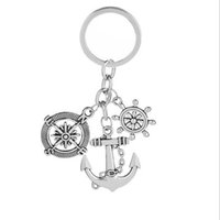 Wholesale anchor rudder keychain for sale - Group buy 12pcs vintage Anchor keychain creative simple Rudder compass key chain gift for nautical lovers buccaneer