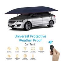 parapluie de voiture portable achat en gros de-KEMiMOTO Couverture de voiture entièrement automatique portable avec télécommande Protection pare-soleil Parapluie Couverture de toit extérieure Kits de protection UV