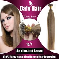 nano ring 1g 2018 - Color 8# chestnut Brown Silk Straight 7A Natural Nano Ring Hair Extensions 1g s 100g pack Factory Prices All Colors Nano Hair Extension
