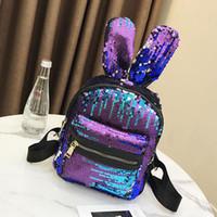 sacs à dos mignons pour les filles achat en gros de-Shinning Bling paillettes mignon gros oreilles de lapin sac à dos pour les filles adolescentes mochila sac à bandoulière femmes Mini voyage sac mignon escolar