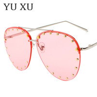 Wholesale frames decorative - Luxury Brand Designer Sunglasses Women Designer Fashion Decorative Rivet Pilot Sunglasses Without Frame Glasses For Men UV400 H40