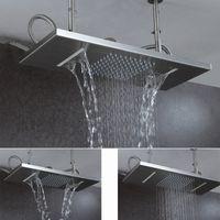 techo de acero inoxidable cepillado al por mayor-Cabezal de ducha de lluvia con techo Cascada de lluvia cepillada Cabezal de ducha de baño Funciones dobles Duchas cuadradas de acero inoxidable 304