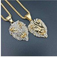 chaîne de charmes tête de lion achat en gros de-Hip hop Or Lion Tête Couronne Roi pendentifs zircon colliers Hommes Femmes Hip Hop Charme Franco Chaîne Iced Out bling rock Bijoux