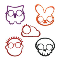 Wholesale sun moulds - 5pcs  Set Owl Rabbit Skull People Sun Shapes Non -Stick Silicone Fried Egg Mold Pancake Rings Cooking Tools Egg Omelette Mould