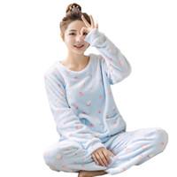 взрослая женская мультипликация оптовых-Взрослые осень и зима женщины пижамы устанавливает толстые теплые пижамы костюм фланель с длинным рукавом женский мультфильм животных брюки пижамы