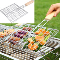 Wholesale iron nets - BBQ Grilled Outdoor Barbecue Tools Grilled Fish Clip Roast Meat Hamburger Net Environment Barbecue Accessories with Wood Crank WX9-590