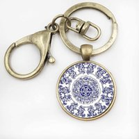 Wholesale geometry pictures - 2017 Fashion Henna Art Picture Keychain Geometry Abstract Mandala KeyChain Glass Key Ring Buddhism Religious Jewelry
