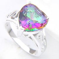 Wholesale Wholesale Lucky Ring Stone - 5 Pieces 1 lot Lucky Shine Family Gift Exclusive Heart Fire Mystic Topaz 925 Sterling Silver Rings Russia American Australia Wedding Rings